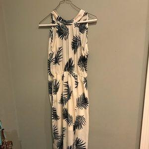 Dresses - Cream and Hunter Green Palm Leaf Maxi, Limelush